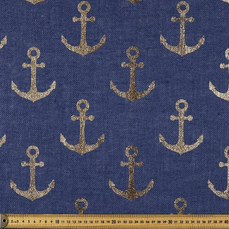 Anchor Printed Hessian Navy 120 cm
