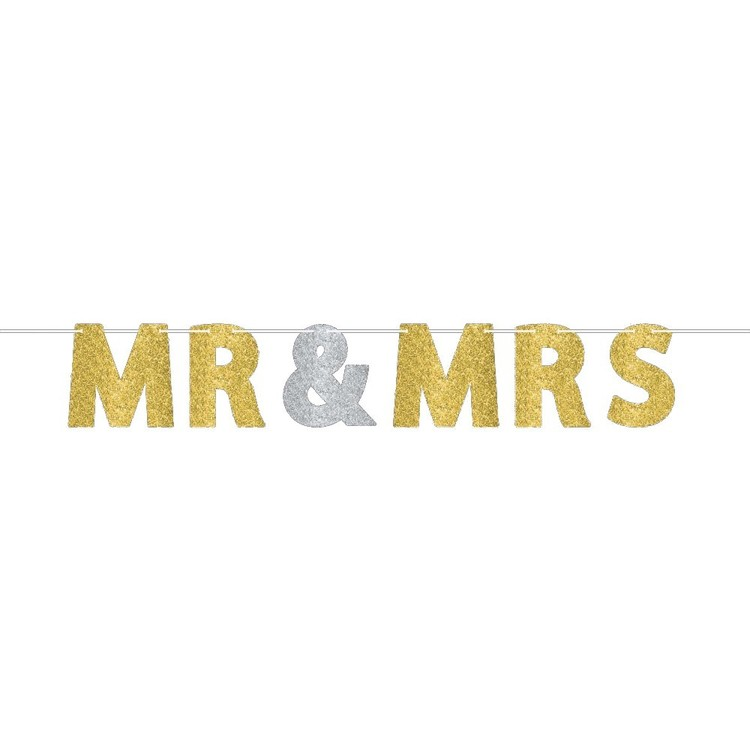 Amscan Mr & Mrs Glitter Banner