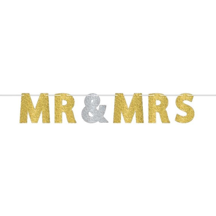 Amscan Mr & Mrs Glitter Banner