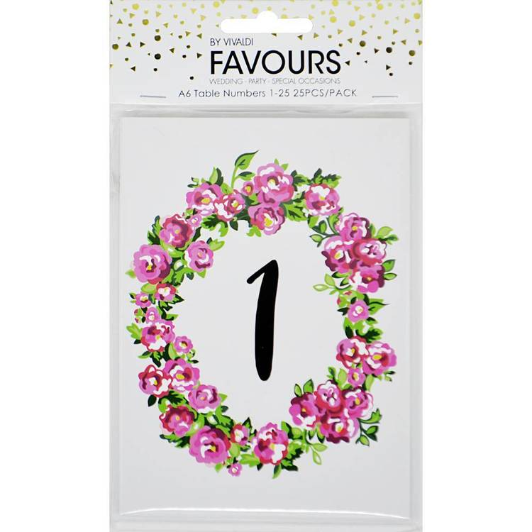 Vivaldi Favours 1 To 25 Floral Table Numbers