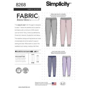 Simplicity Pattern 8268 Slim Fit Knit Jogger