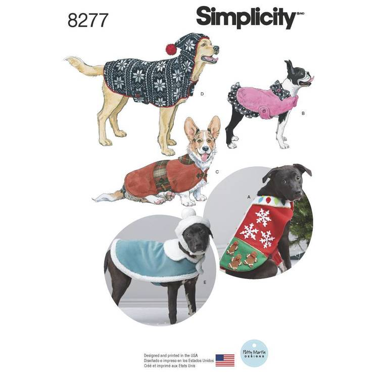 Simplicity Pattern 8277 Fleece Dog Coats & Hats