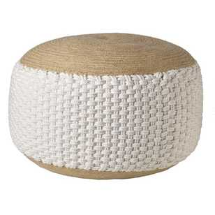 Living Space Robin Jute & Cotton Ottoman