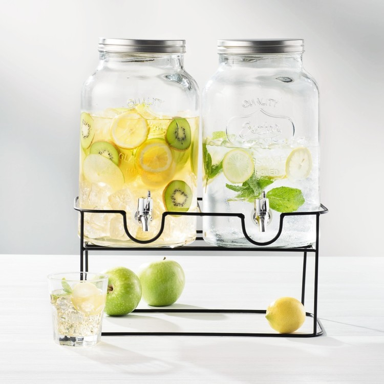 Cooper & Co Twin Drink Dispensers On Stand Clear 6 L