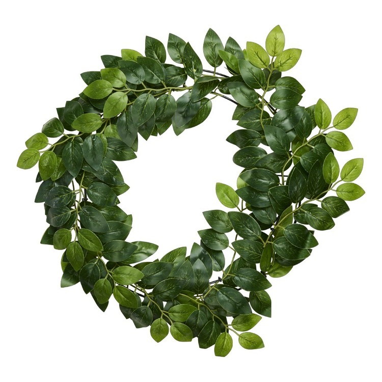 Ficus Leaves Wreath Green 14 in