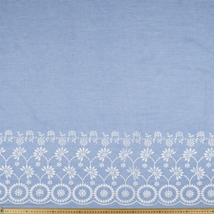 Yarn Dyed Border Embroidered Chambray