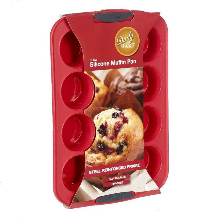 Daily Bake Silicone 12 Cup Muffin Pan Red