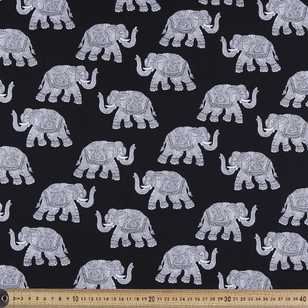 Elephants Printed Poplin