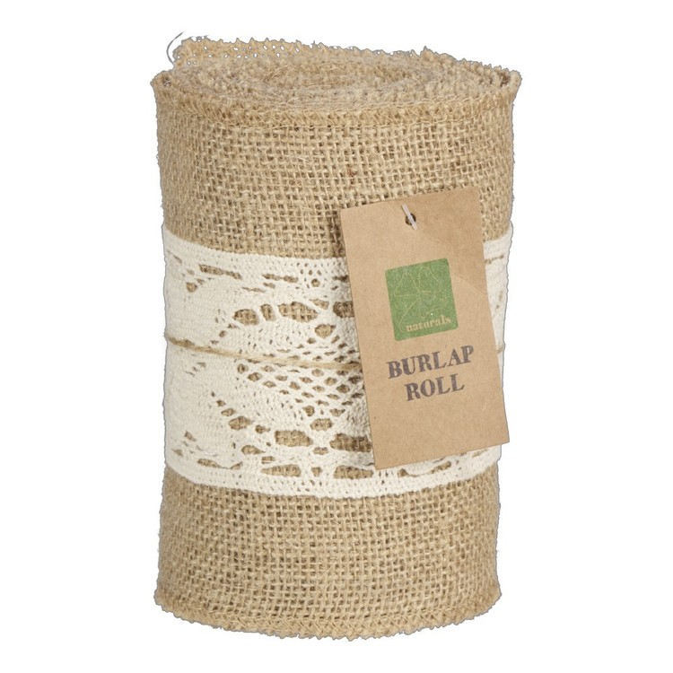 Burlap Roll With Centre Lace Natural 14 cm