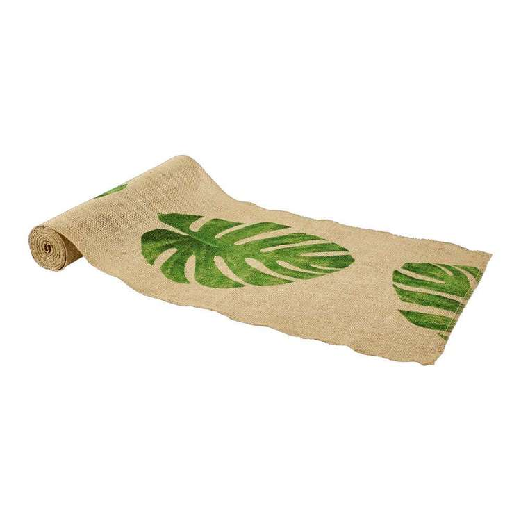 Burlap Palm Leaf Print Runner Natural & Green 30 cm