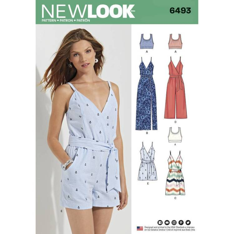 New Look Pattern 6493 Misses' Jumpsuit and Dress in Two Lengths with Bralette
