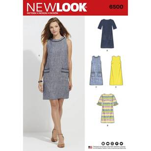 New Look Pattern 6500 Misses' Dress with Neckline, Sleeve, and Pocket Variations
