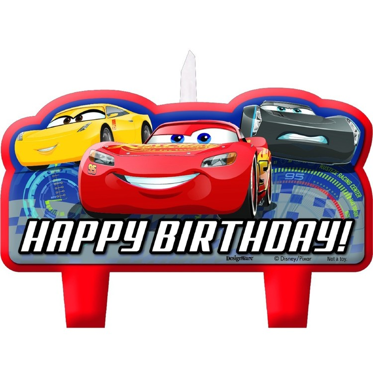 Cars 3 Birthday Candle Set Red & Blue
