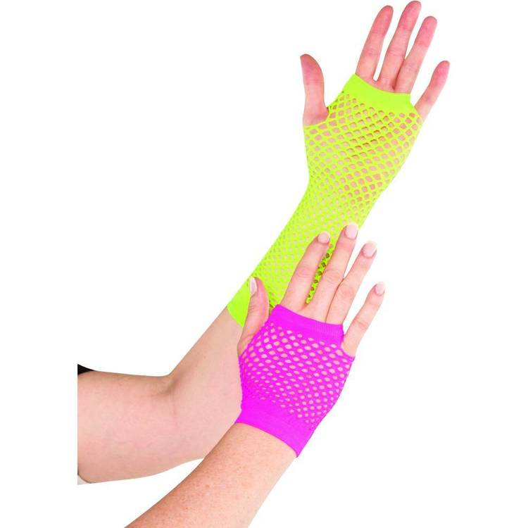 Amscan 80'S Neon Fishnet Gloves