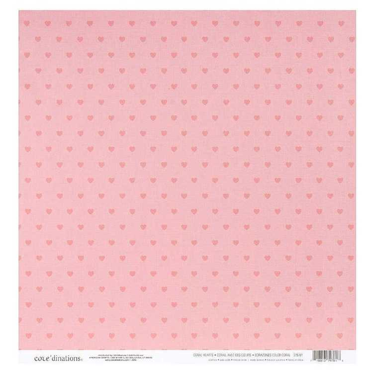 American Crafts Basic Coral Hearts Paper