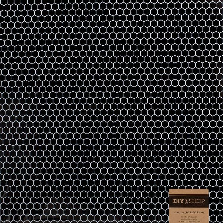 American Crafts Design White On Black Honeycomb Paper