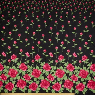 Gertie Rosebuds Border Printed Cotton Sateen Fabric