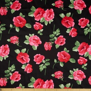 Gertie Roses All Over Printed Cotton Sateen Fabric
