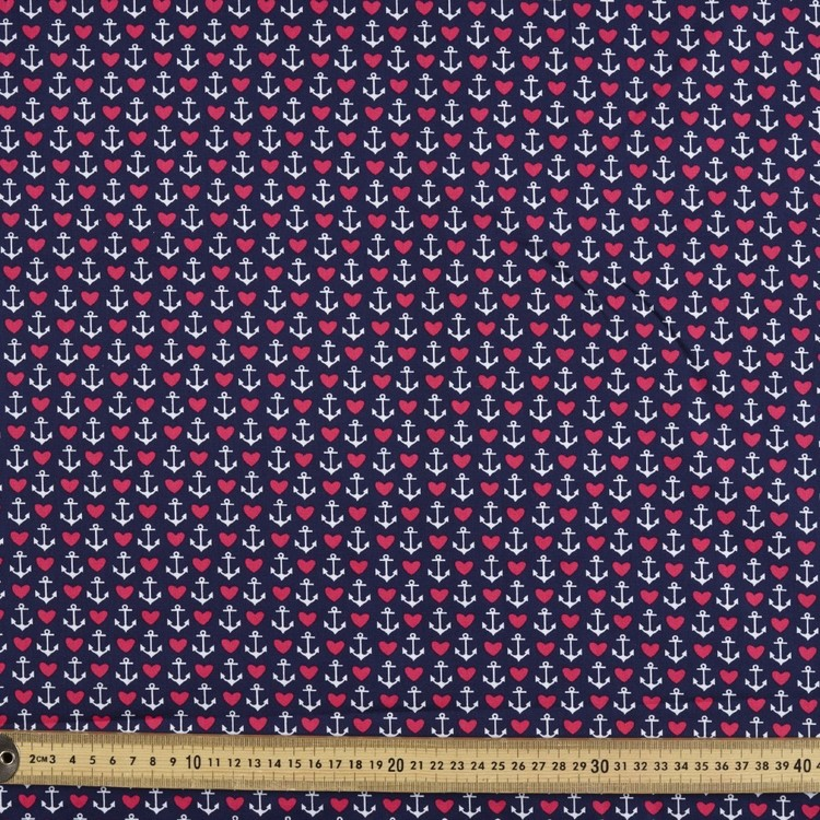Gertie Anchors Border Printed Poplin Fabric Navy 112 cm