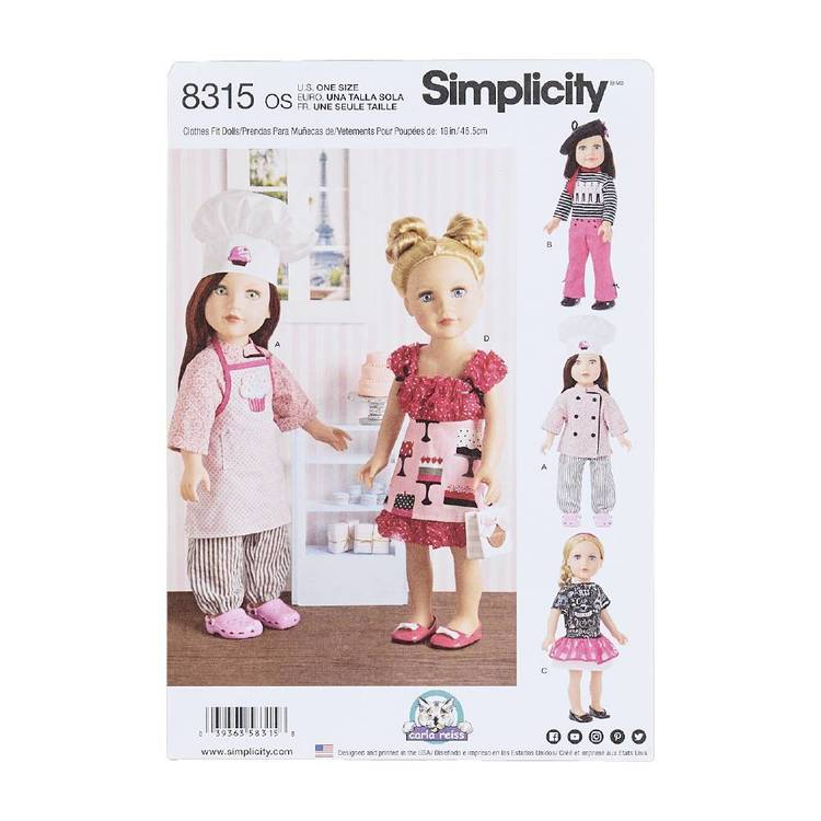 """Simplicity Pattern 8315 18"""" Doll Clothes"""