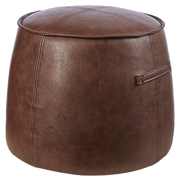Living Space Faux Leather Ottoman Tan 40 x 49 cm