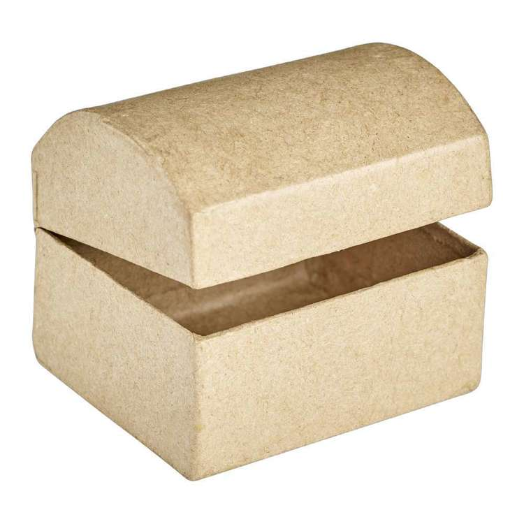 Shamrock Craft Chest Treasure Paper Mache Natural 6 cm