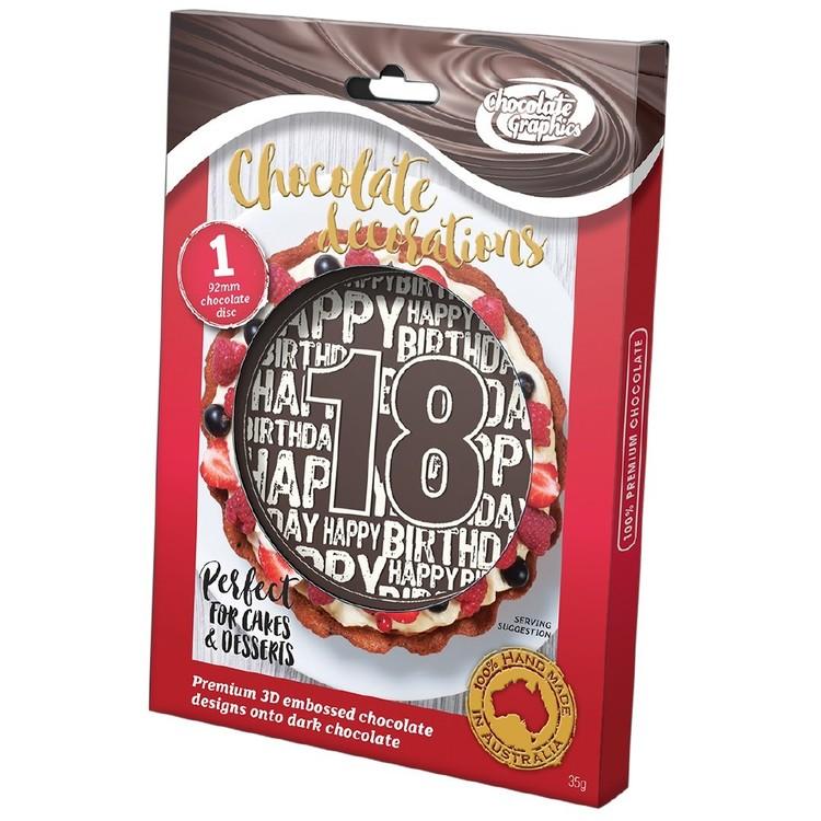 Chocolate Graphics Happy Birthday Milestones 18Th Centre Piece