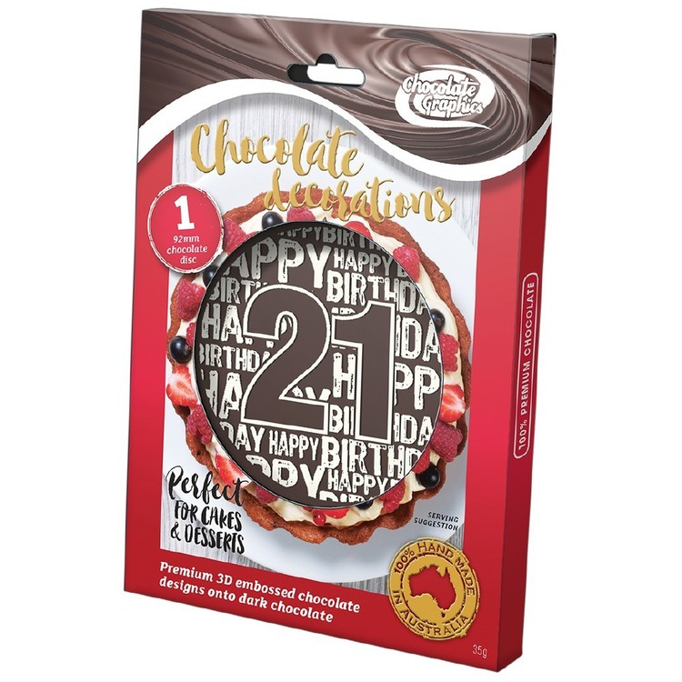 Chocolate Graphics Happy Birthday Milestones 21St Centre Piece