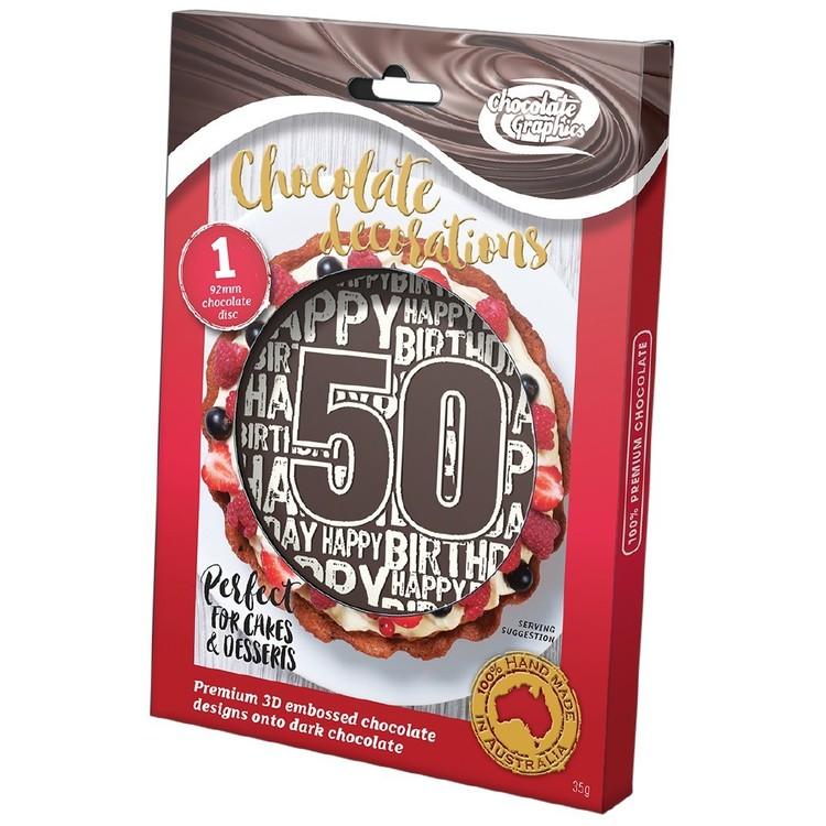 Chocolate Graphics Happy Birthday Milestones 50Th Centre Piece