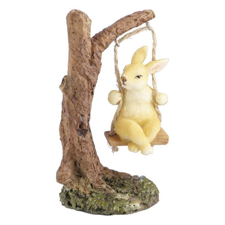 Fairy Garden Rabbit on Tree Swing Figurine
