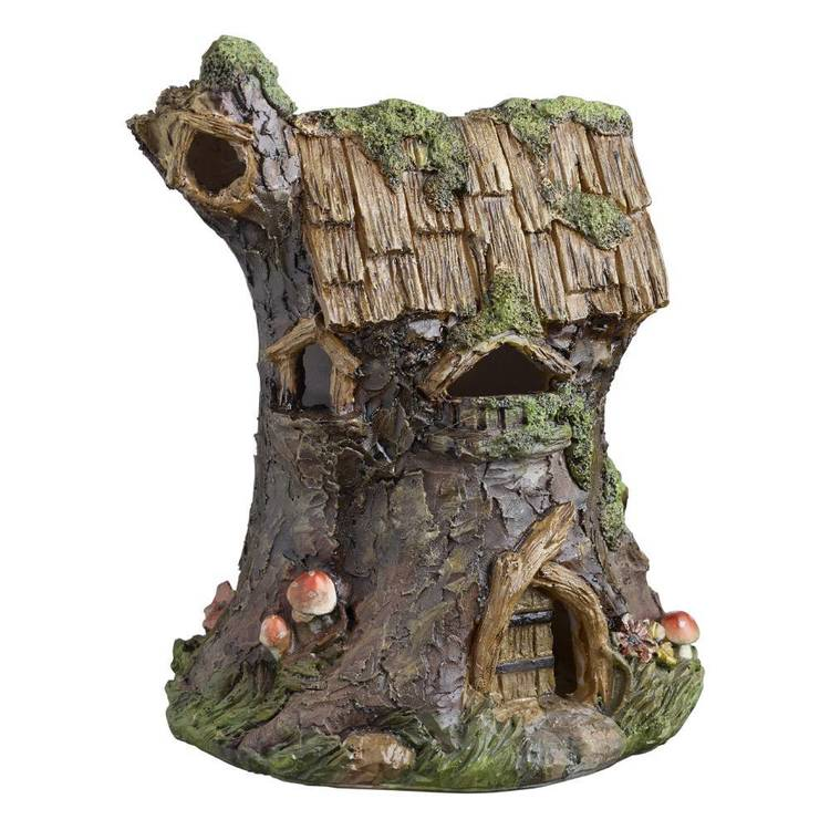 Fairy Garden Tree Trunk House With LED Figurine