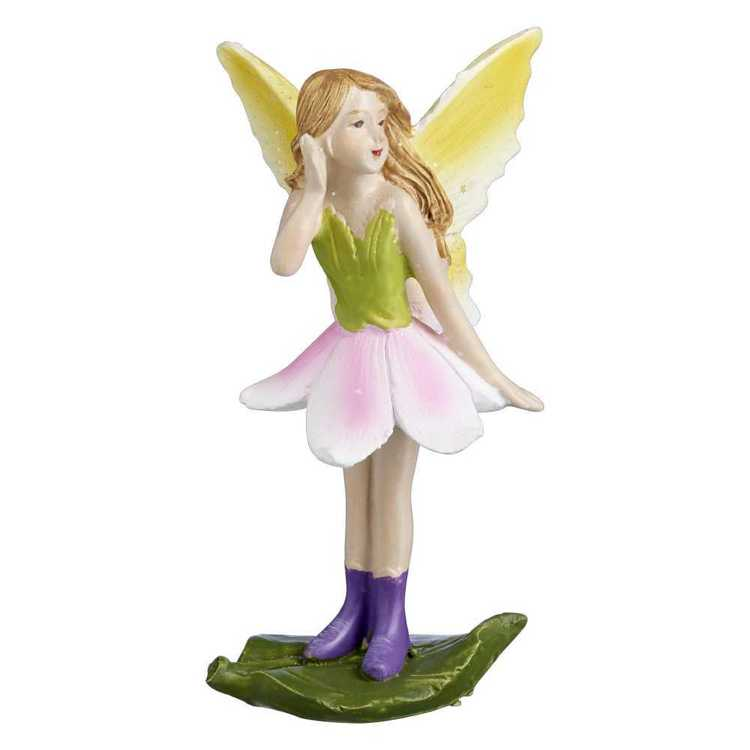 Fairy Garden Fairy On Leaf Figurine