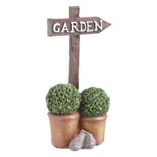 Fairy Garden Garden Sign & Topiaries Figurine