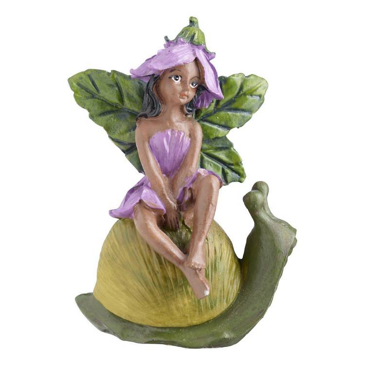 Fairy Garden Fairy on Snail Figurine Purple & Green