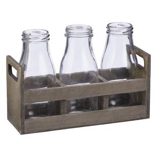 Francheville Milk Bottle Wooden Tray