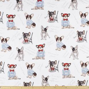 Pierre Male Bulldog Print Uncoated Curtain Fabric