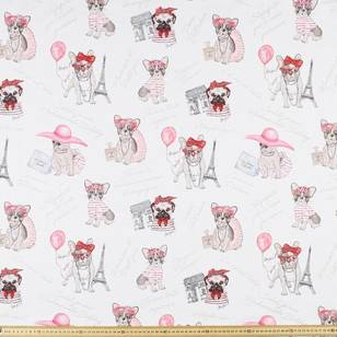 Jolie Female Bulldog Print Uncoated Curtain Fabric