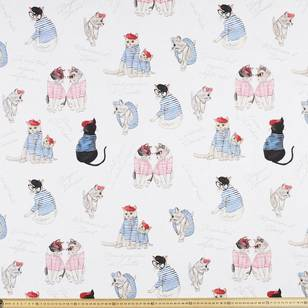Le Chat Cat Print Uncoated Curtain Fabric
