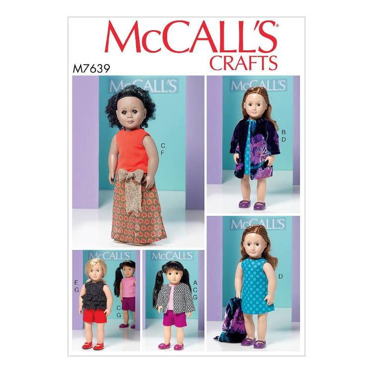 """McCall's Pattern M7639 18"""" Dolls Clothes"""