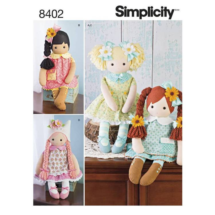 "Simplicity Pattern 8402 23"" Stuffed Dolls"
