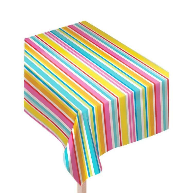 Amscan Multi-Stripe Border Tablecover
