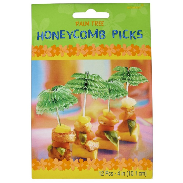 Amscan Palm Tree Honeycomb Picks