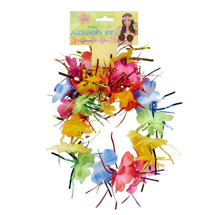 Amscan Wrislets Headwreath Set Rainbow Tinsel