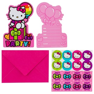 Hello Kitty Postcard Invitations 8 Pack