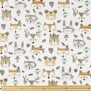 Tribal Animal Faces Montreaux Drill Fabric
