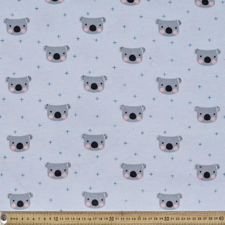 Koala Heads Printed Flannel Fabric