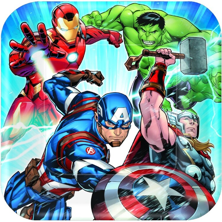 "Amscan Avengers Assemble 9"" Square Plates 8 Pack"