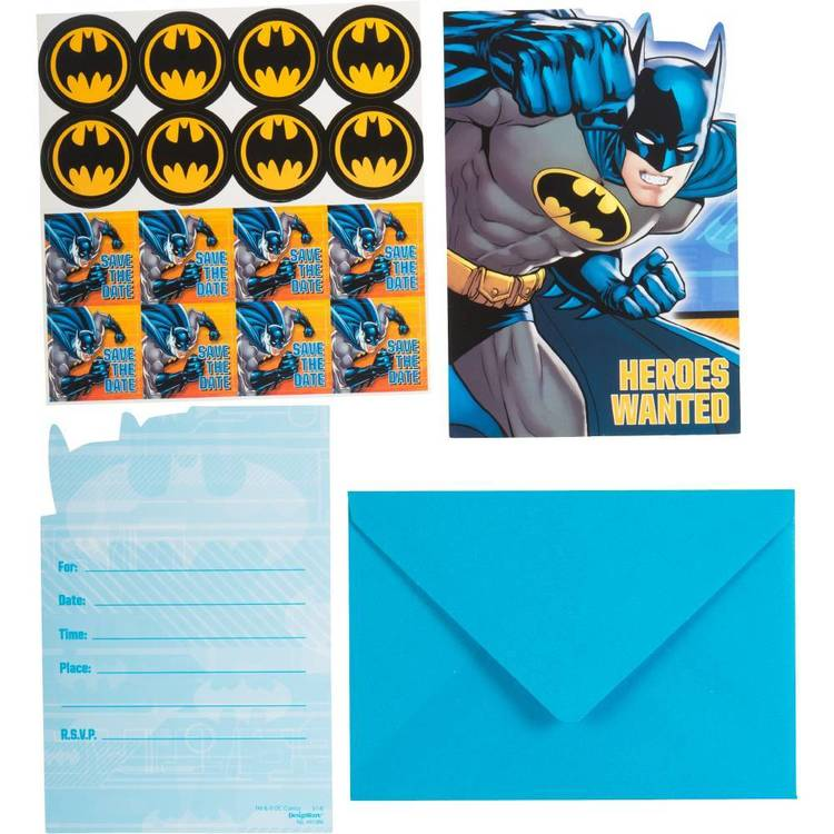Batman Postcard Invitations 8 Pack
