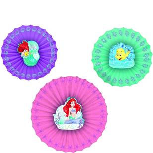 Amscan Disney Dream Big Ariel Paper Fan Decorations 3 Pack