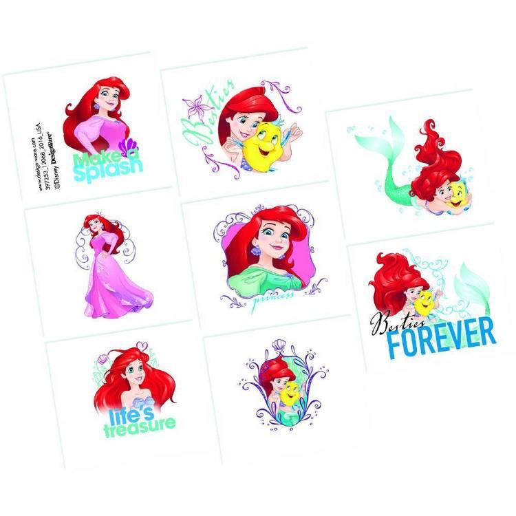Amscan Disney Dream Big Ariel Tattoo Favours 8 Pack